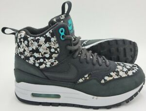 Nike Air Max 1 Mid Trainers 706657-001 Black/Grey/Floral/Liberty UK5/US7.5/E38.5