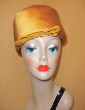 1960's Gold Satin Evening Hat w/ Small Bow Accent