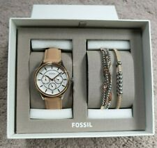 FOSSIL TAN LEATHER WATCH AND JEWELRY GIFT BQ3417SET