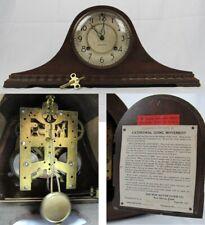 antique New Haven Mantel Clock No. 6 rare Duo Strike hump back tambour key wood
