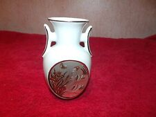 """Art of Chokin 5 1/2"""" China Vase with Swans, Butterflies and Iris's-Made in Japan"""