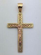 14k Two Tone Gold Cross Jesus Christ Crucifix Religious Charm Pendant 2.7 grams