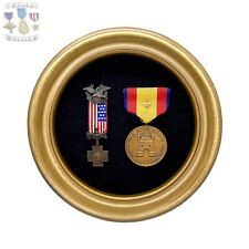 SPANISH AMERICAN WAR VETERANS MEDAL WAR WITH SPAIN CAMPAIGN BUBBLE GLASS FRAMED