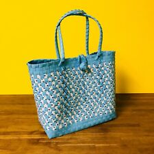HANDMADE WOVEN PLASTIC HAND BAG IN LIGHT BLUE/WHITE LARGE
