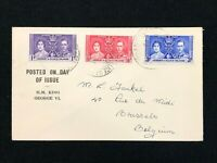 Postal History, Gilbert & Ellice Islands to Brussels 1st Day Issue KGVI Set 1937