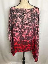 VINCE CAMUTO Women's Light Weight Poncho Blouse Shirt Top M Pink Red Blk NEW $99