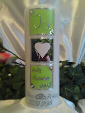 Hochzeitskerze mit Foto Bild 200/70mm Apfelgrün/Silber H074 Ja wir trauen uns!