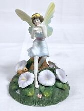 Winged Fairy with Flowers Squirrel Playing Flute Mystical Ceramic Figurine 6-1/2