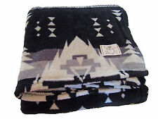 Ralph Lauren White Black Indian Beacon Print Southwest Lodge Polo Throw Blanket