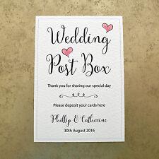 Personalised Wedding Post Box Card Sign - Bride & Groom's Name & Wedding Date