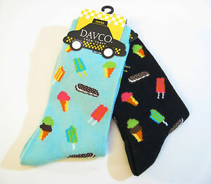 2 PR Davco New York Ladies Socks Ice Cream Black / Aqua - NEW