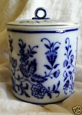 Antique Waechtersbach German Flow Blue Lidded Biscuit Jar  1893-1911 Hallmark