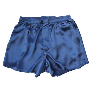 Jasmine Silk Men's Classic Silk Boxer Shorts Navy