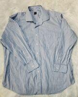 Ike Behar Men's 17.5 33 Blue Pinstripe Button Front Dress Shirt