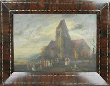 D1-003. FOLK SCÈNE. HUILE SUR TOILE. ÉCOLE HOLLANDAISE. CENTURY XVIII-XIX.