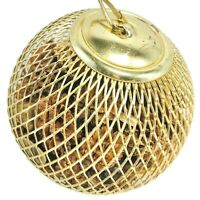 Potpourri Cage Metal Ball Ornament Gold Tone Wire Cage Witch Ball Vintage Decor