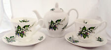 Lily of the Valley Tea Set for Two Bone China Lilies Teapot 2 Cups 2 Saucers Set
