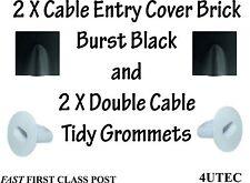 Twin Coax Cable Hole Tidy Burst Brick COVER BLACK T+