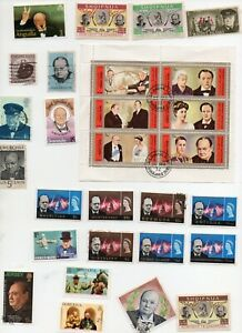 WINSTON CHURCHILL on Stamps 22 + Mini Sheet - UMM and Used