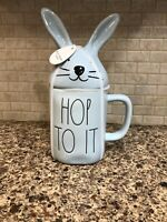 Blue Rae Dunn HOP TO IT Bunny Mug with Topper NEW
