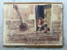 LELAND BEAMAN SIGNED WATERCOLOR PAINTING ON BOARD URBAN CITY CHILDREN SCENE