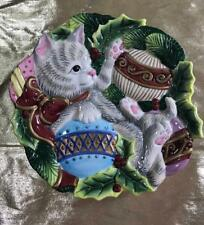 Fitz and Floyd Essentials Kristmas Kitty Plate # 7091006
