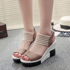 1dd2425d810c2 Women s Fish Mouth Sandals Shoes Wedge Heel High Platform Open Toe Buckle  Summer