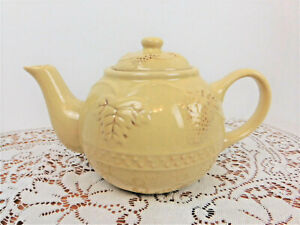 Vintage Pale Yellow 40-Oz Teapot w/Embossed Fruits/Leaves/Vine/Brown Highlights