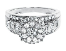 Plata de Ley 925 Novia Racimo Diamantes Compromiso Boda Anillo Cóctel 1 Quilate