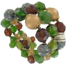 West Germany Multicolor Green Beaded Wide Bracelet Vintage 1950s