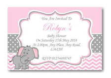 20 Personalised Baby Shower Invitations / Invites With Envelopes Pink Elephant