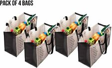 Black Friday Heavy Duty Grocery Bags Reusable Foldable Pack of 4 Double Handles