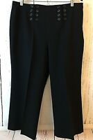 New LARRY LEVINE Stretch Black Dress Pants Women's SIZE 14 Cropped Buttons NWOT