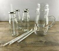 Karaffe*Einsatz*Glas*Set*Wasserkaraffe*Kühlkaraffe*Saft*Deckel*Shabby*Vintage