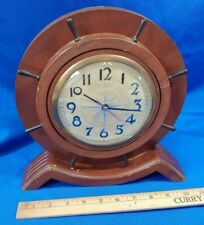 Admiral Art Deco-Mcm Ship Wheel Nautical Clock Battery Op Vtg Antique Wood