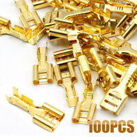 100pcs Cable Lug Cable Plug 6.3mm Uninsulated Blank Blade Receptacle 0.5-1.5 mm²
