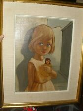Mid Century Original Oil Painting Big Eyed Little Girl w Doll Portrait Verdall
