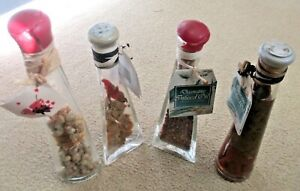 Lot of 4 Infused In Oil Decorative Glass Bottles - Triangular, Oval and Circular