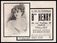 PUBLICITE  B. HENRY POSTICHES SALON DE COIFFURE  CHEVEUX SOINS HAIR   AD  1909