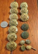 Lot of 16 Antique Embossed Eagle Brass Military Jacket BUTTONS