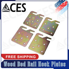 Universal Wood Bed Rail Hook Plates 5-Hole Design Surface Galvanized 4 Pieces