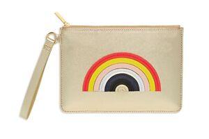 Estella Bartlett Designer Clutch, Gold, Rainbow Make Up Bag SALE