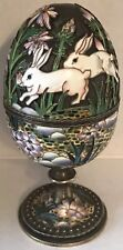 IMPERIAL RUSSIAN SILVER Inlaid Enamel Easter Egg OVCHINNIKOV Bunnies & Flowers