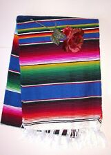 Mexican Serape Blanket Deep Blue rainbow multi color falsa Southwest  Xlarge