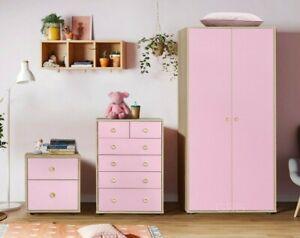 Bedroom Furniture Trio Set Kids Baby Nursery Chest of Drawers Bedside Wardrobe