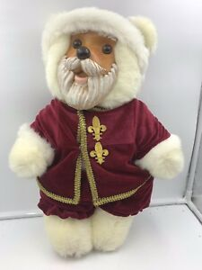 """Robert Raikes 18"""" Santa Claus Wood carved Face and Feet box 1988 Philippines"""