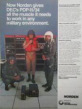 2/77 PUB UNITED TECHNOLOGIES NORDEN PDP-11/34M DEC MINICOMPUTER PILOT HELMET AD