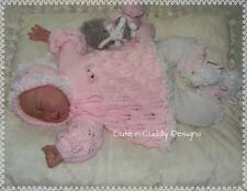 Baby /Reborn doll designer knitting pattern Angel top,trousers/bonnet/bootees