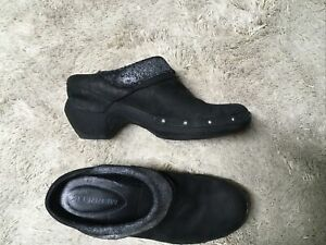 Merrell Luxe Wrap Women's Slip On Mules Clogs Shoes Black Leather Size 8.5
