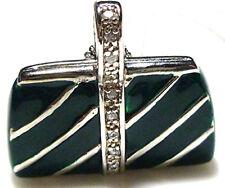 STERLING SILVER DIAMOND GREEN ENAMEL HANDBAG PURSE DESIGNER PENDANT NECKLACE